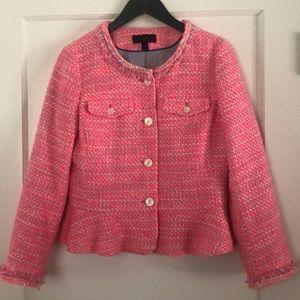 J Crew Neon Pink Tweed Peplum Jacket (sz 6)